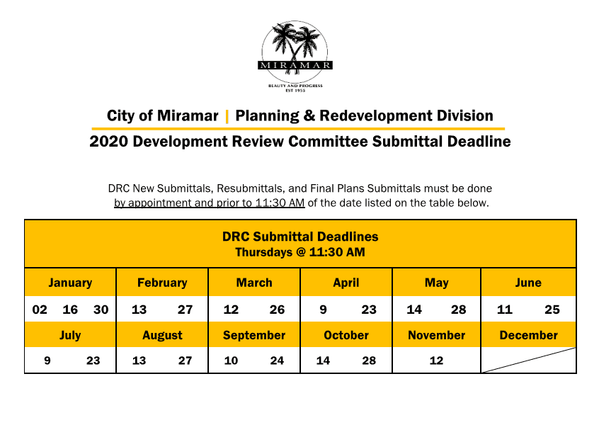 2020 Meeting Calendar DRC Submittal Deadlines
