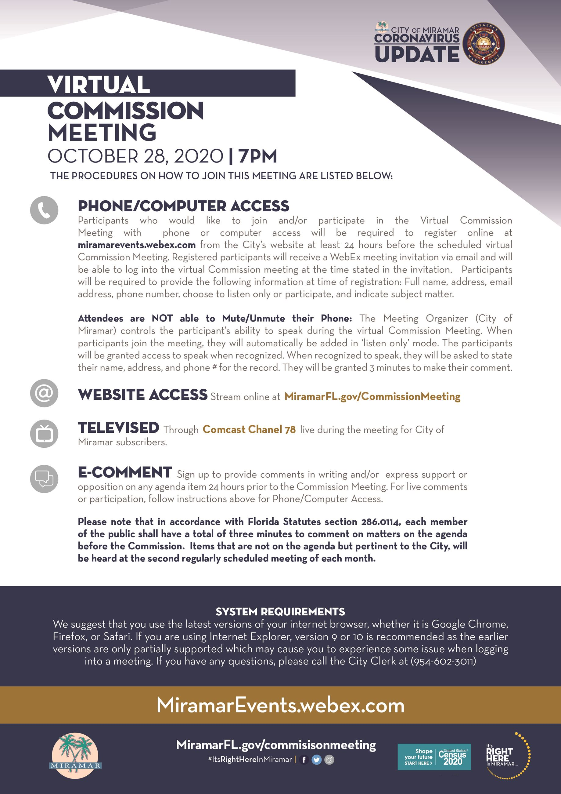 Virtual Commission Meeting Flyer - October 28